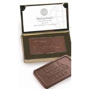 1 oz. Premium Belgian Chocolate Bar in Flip Top Box w/ Business Card Holder